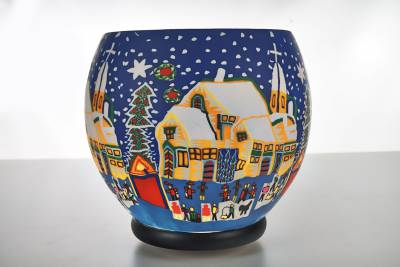 Leuchtglas XXL Lampe elektrisch 811 Snowy Village Ø30cm Dekoleuchte Windlicht Kerzenfarm - 1