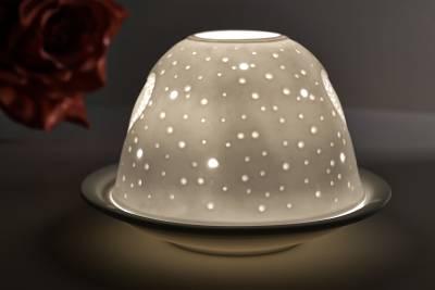 Kerzenfarm Hahn Dome Light Nr. 32801 Herz - Teelicht Windlicht Dekoration Porzellanteelicht - 1