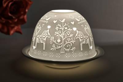 Kerzenfarm Hahn Dome Light Nr. 32806 nordisches Pferd - Teelicht Windlicht Porzellanteelicht - 1