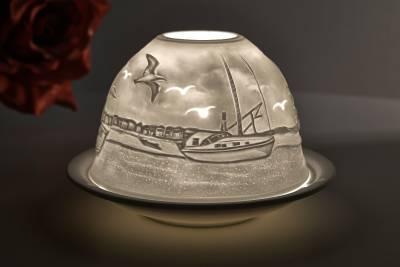 Kerzenfarm Hahn Dome Light Nr. 32808 Fischkutter - Teelicht Windlicht Dekoration Porzellanteelicht - 1