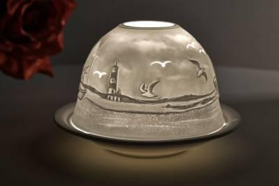 Kerzenfarm Hahn Dome Light Nr. 32808 Fischkutter - Teelicht Windlicht Dekoration Porzellanteelicht
