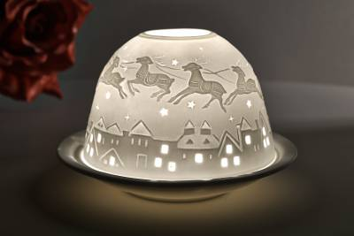 Kerzenfarm Hahn Dome Light, Nr. 32810 Bescherung - Teelicht Windlicht Dekoration Porzellanteelicht - 1