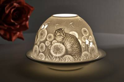 Kerzenfarm Hahn Dome Light, Nr. 30171 Hauskatzen - Teelicht Windlicht Dekoration Porzellanteelicht - 1
