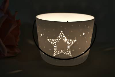 Kerzenfarm Hahn Windlichthalter 32973 Becher mit Henkel, Stern, Teelichthalter, Porzellan - 1