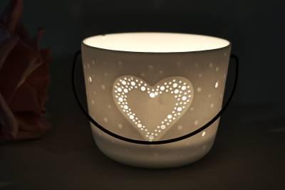 Kerzenfarm Hahn Windlichthalter 32971 Becher mit Henkel, Herz, Teelichthalter, Porzellan - 1