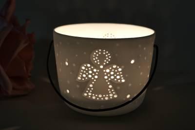 Kerzenfarm Hahn Windlichthalter 32974 Becher mit Henkel, Engel, Teelichthalter, Porzellan - 1