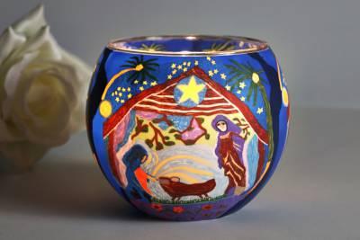 Leuchtglas 21828 Nativity 11cm Kerzenhalter Teelicht Windlicht Kerzenfarm Deko - 1