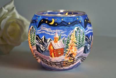 Leuchtglas 21829 Silence 11cm Kerzenhalter Teelicht Windlicht Kerzenfarm Deko - 1
