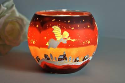 Leuchtglas 21830 Angel 11cm Kerzenhalter Teelicht Windlicht Kerzenfarm Deko - 1