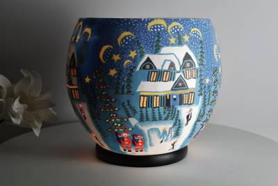 Leuchtglas elektrisch, XXL Lampe 814 Winter 30cm Dekoleuchte Windlicht Kerzenfarm - 1