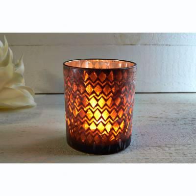 Glas-Windlicht, braun, innen silber verspiegelt, vereist, Stumpenkerze, Teelicht - 1