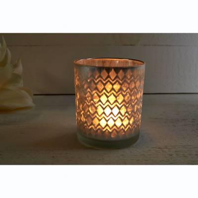 Glas-Windlicht, silber, verspiegelt, vereist, Stumpenkerze, Teelichthalter - 1
