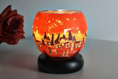 Leuchtglas 831 Winter village 11cm Kerzenhalter Teelicht Windlicht Kerzenfarm - 1