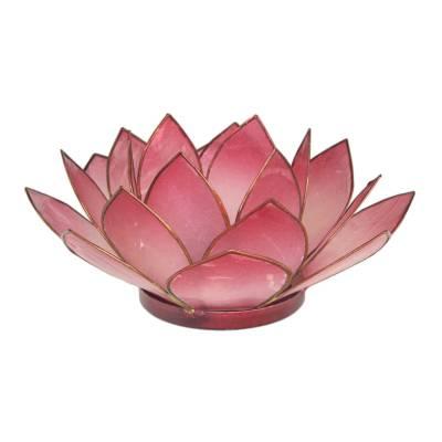 Lotosblüte, filigraner Teelichthalter, Windlichthalter rot, transparente Capiz-Muschel - 1