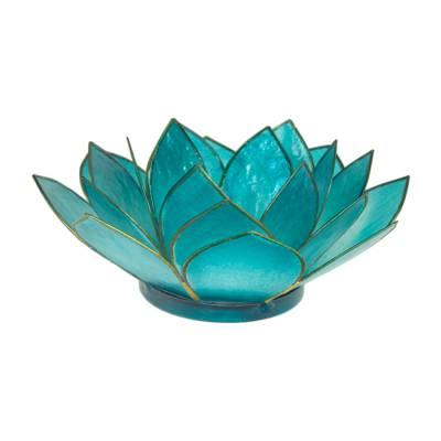 Lotosblüte, filigraner Teelichthalter, Windlichthalter türkis, transparente Capiz-Muschel - 1