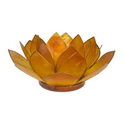 Lotosblüte, filigraner Teelichthalter, Windlichthalter goldgelb, transparente Capiz-Muschel - 1
