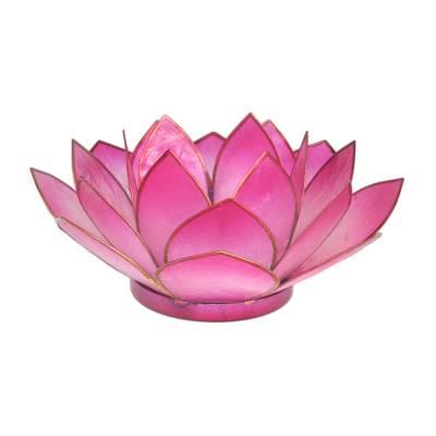 Lotosblüte, filigraner Teelichthalter, Windlichthalter pink, rosa, transparente Capiz-Muschel - 1