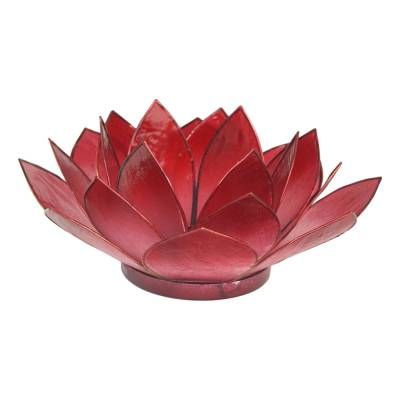 Lotosblüte, filigraner Teelichthalter, Windlichthalter dunkelrot, transparente Capiz-Muschel - 1