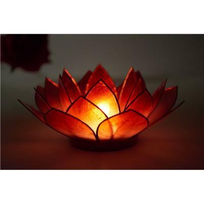Lotosblüte, filigraner Teelichthalter, Windlichthalter dunkelrot, transparente Capiz-Muschel