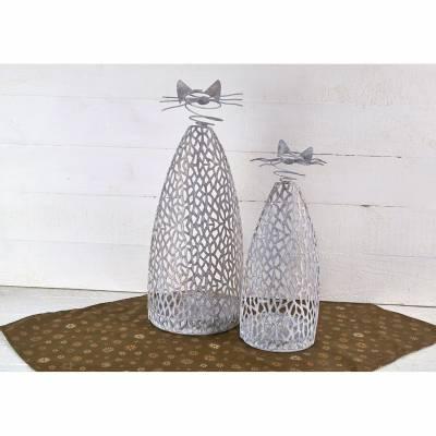 Katze Purley Metall, weiss gewischt, Kerzenhalter, Kerzenständer, Deko, Höhe 34cm - 1