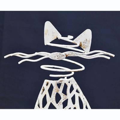 Katze Purley Metall, weiss gewischt, Kerzenhalter, Kerzenständer, Deko, Höhe 42cm