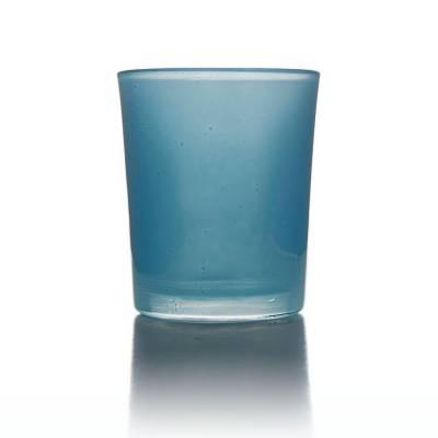 Teelichtglas hellblau, Teelichthalter, Glas für Teelichter, Windlicht, uni - 1