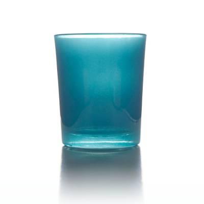 Teelichtglas türkis, Teelichthalter, Glas für Teelichter, Windlicht, uni
