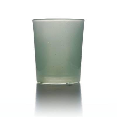 Teelichtglas hellgrün, Teelichthalter, Glas für Teelichter, Windlicht, uni - 1