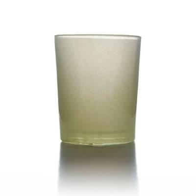 Teelichtglas creme, beige, Teelichthalter, Glas für Teelichter, Windlicht, uni - 1
