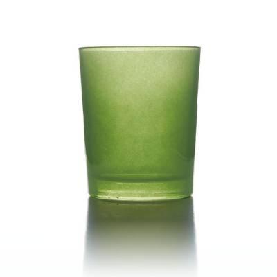 Teelichtglas apfelgrün, Teelichthalter, Glas für Teelichter, Windlicht, uni - 1