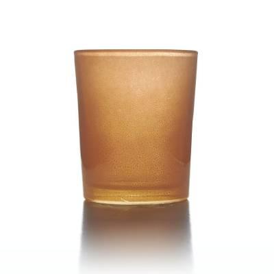Teelichtglas orange, Teelichthalter, Glas für Teelichter, Windlicht, uni