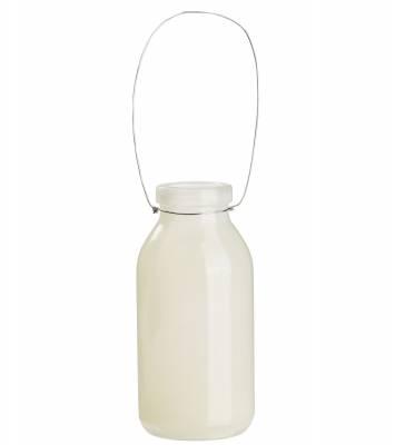 Deko Flasche creme, beige Glasflasche Dekoflasche, Vase, Tischdeko, Fläschen - 1