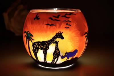 Leuchtglas 21123 Safari 11cm Kerzenhalter Teelichthalter Windlicht Kerzenfarm - 1