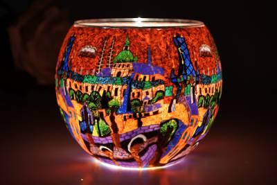 Leuchtglas 21641 Red City 11cm Kerzenhalter Teelichthalter Windlicht Kerzenfarm - 1