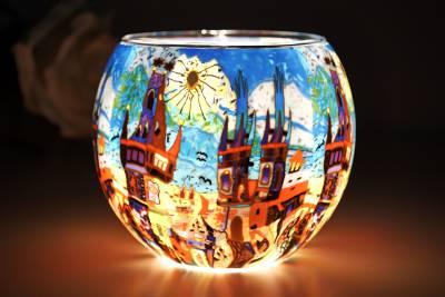 Leuchtglas 21642 Summertown 11cm Kerzenhalter Teelichthalter Windlicht Kerzenfarm - 1