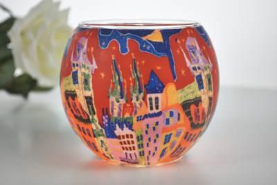 Leuchtglas 21643 Sunset in the City 11cm Kerzenhalter Teelichthalter Windlicht Kerzenfarm - 1