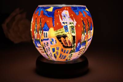elektr. Leuchtglas Lampe 21643 Sunset in the City 11cm Tischlampe Dekoleuchte Kerzenfarm - 1