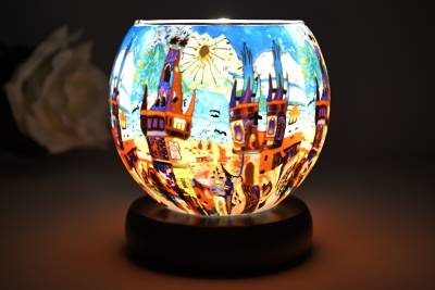 elektrische Leuchtglas Lampe 21642 Summertown 11cm Kerzenhalter Tischleuchte, Kerzenfarm - 1