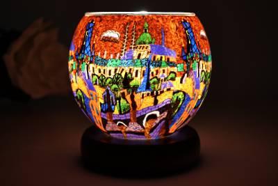 elektrische Leuchtglas Lampe 21641 Red City 11cm Tischlampe Dekoleuchte Kerzenfarm - 1