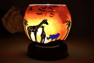 elektrische Leuchtglas Lampe, 21123 Safari 11cm Tischleuchte, Dekolampe, Kerzenfarm - 1