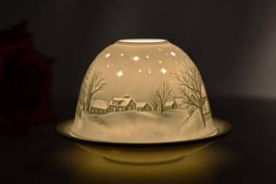 Kerzenfarm Hahn Dome Light 32035 Kapelle Winter Teelicht Windlicht Porzellanteelicht - 1