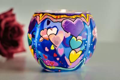 Leuchtglas 21301 Friendship Freundschaft 11cm Kerzenhalter Teelichthalter Windlicht Kerzenfarm - 1