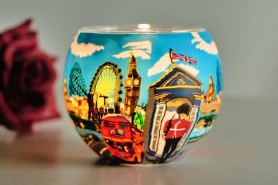 Leuchtglas 21649 London Life 11cm Kerzenhalter Teelichthalter Windlicht Kerzenfarm - 1