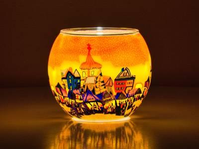 Leuchtglas Nr.177 ohne Wachs Ø11cm Teelichthalter Windlicht Dorf im Sonnenuntergang - 1