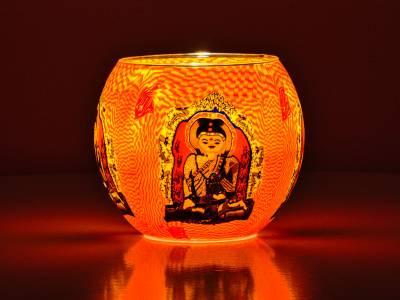 Leuchtglas Nr.309 ohne Wachs Ø11cm Dekoration Teelicht Windlicht Buddha - 1