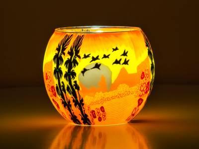 Leuchtglas Nr.354 ohne Wachs Ø11cm Dekoration Teelicht Windlicht Vögel - 1