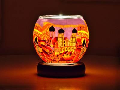 Leuchtglas Nr.449 Lampe Leuchte Ø11cm Dekoration Licht Passau orange - 1