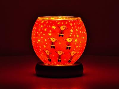 Leuchtglas Nr.341 Lampe Leuchte Ø11cm Dekoration Licht 6 Weihnachtsmänner - 1