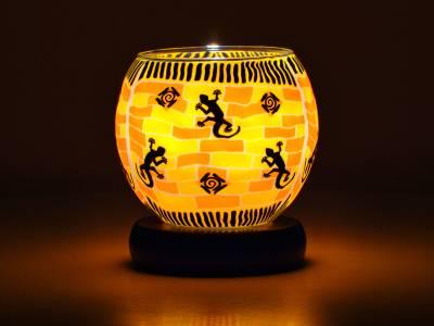 Leuchtglas Nr.149 Lampe Leuchte Ø11cm Dekoration Licht Eidechsen - 1