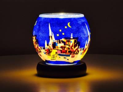 Leuchtglas Lampe Leuchte Nr.38 Ø11cm Dekoration Licht Stadt/Nacht - 1